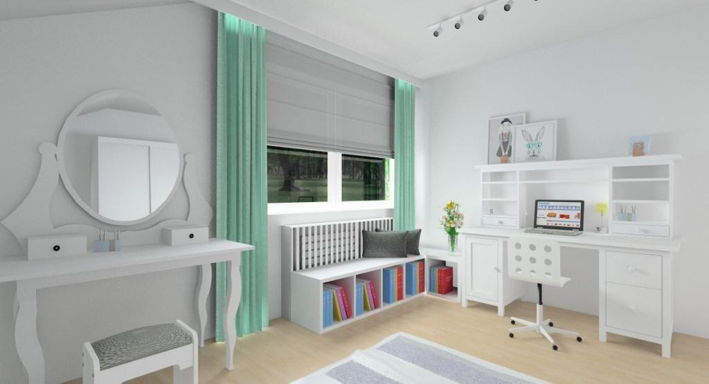 Pokój dla nastolatki, biały, miętowy, szary, toaletka, biurko z nadstawką, siedzisko pod oknem,
