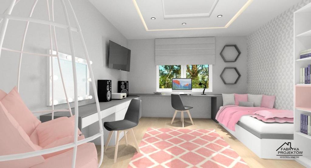 Pokój dla nastolatki, nowoczesna aranżacja pokoju młodzieżowego, pudrowy róż, biały, szary, duże biurko, toaletka, lustro z oświetleniem, dywan pudrowy róż, łóżko