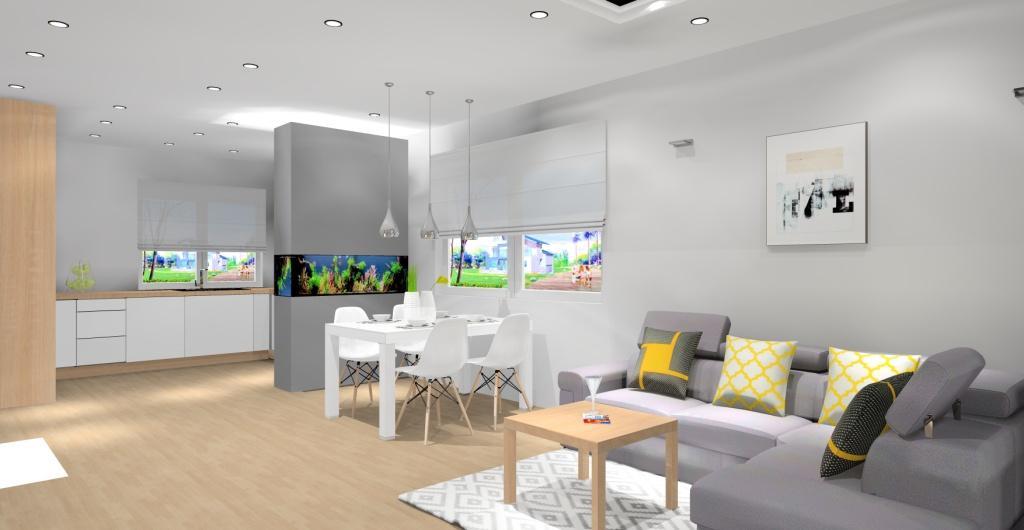 kuchnia oddzielona od salonu akwarium, akwarium w salonie z kuchnią, nowoczesny salon, biały, szary, drewno