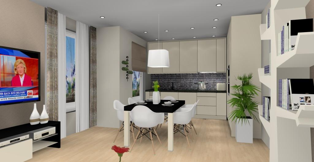Projekt salonu z kuchnią, styl nowoczesny, beż, brąz, czarny, biały