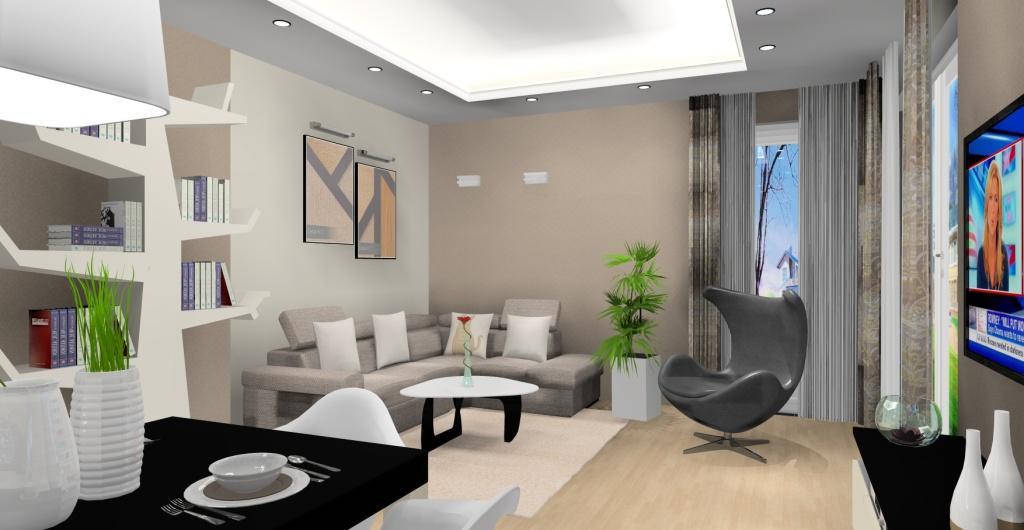 Projekt nowoczesnego salonu z kuchnią, brąz, beż, czarny, drzewo na ksiązki w salonie, sufit podwieszany w salonie