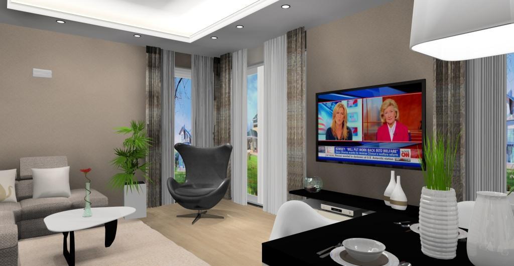 Salon z kuchnią, nowoczesne wnętrze salonu, dekoracja okna w salonie