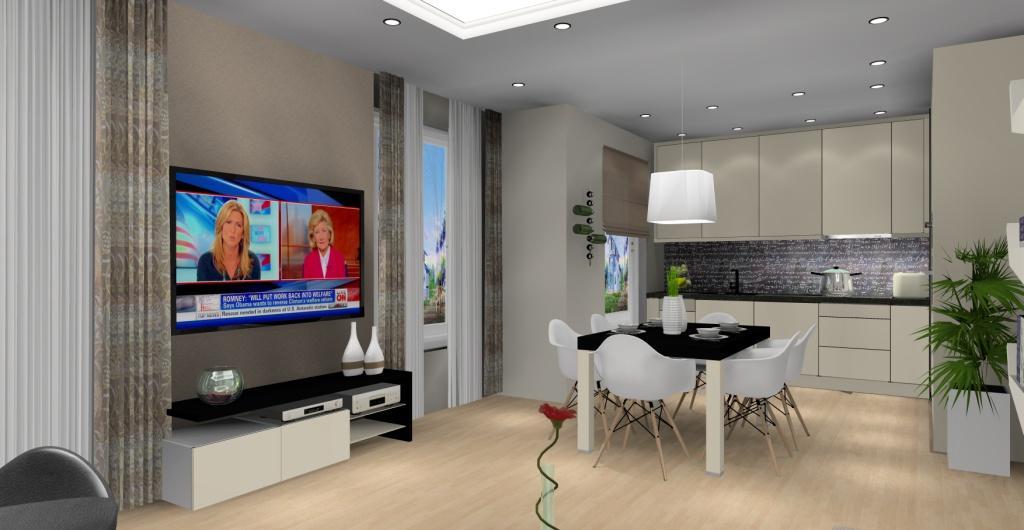 salon z kuchnią w kolorze brąż, beż, ściana pomalowana farba tablicową w kuchni