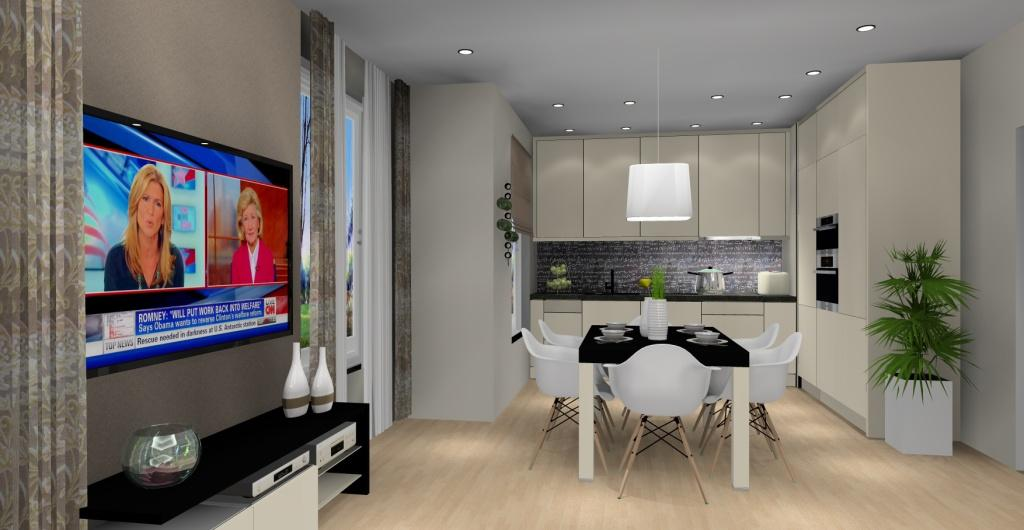 Projekt kuchni z salonem, nowoczesne wnętrze salonu z kuchnią, nowoczesna szafka RTv w salonie,nowoczesna aranżacja ściany w salonie