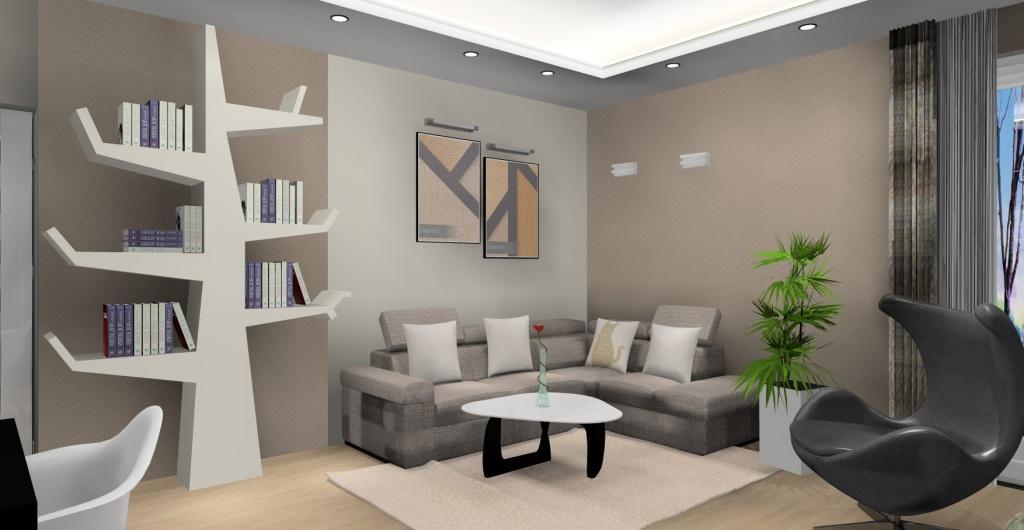 Kuchnia z salonem, drzewo na książki w salonie, sofa narożna, nowoczesny salon, biały, brąz, czarny, biały