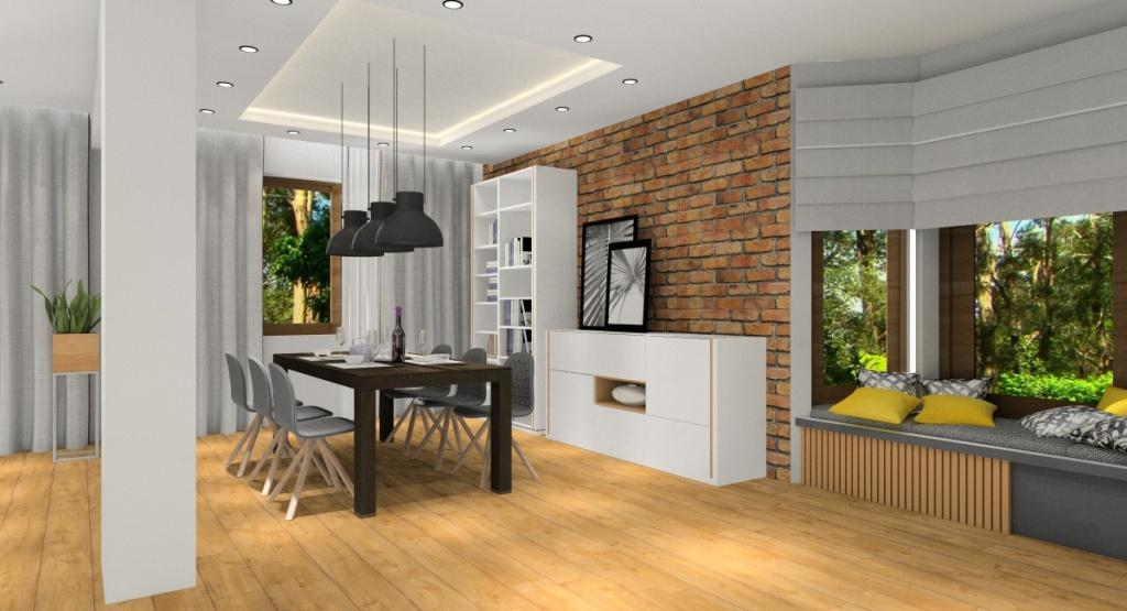 Salony Z Kuchnią Aranżacja Wnętrza Biel Szarość Drewno