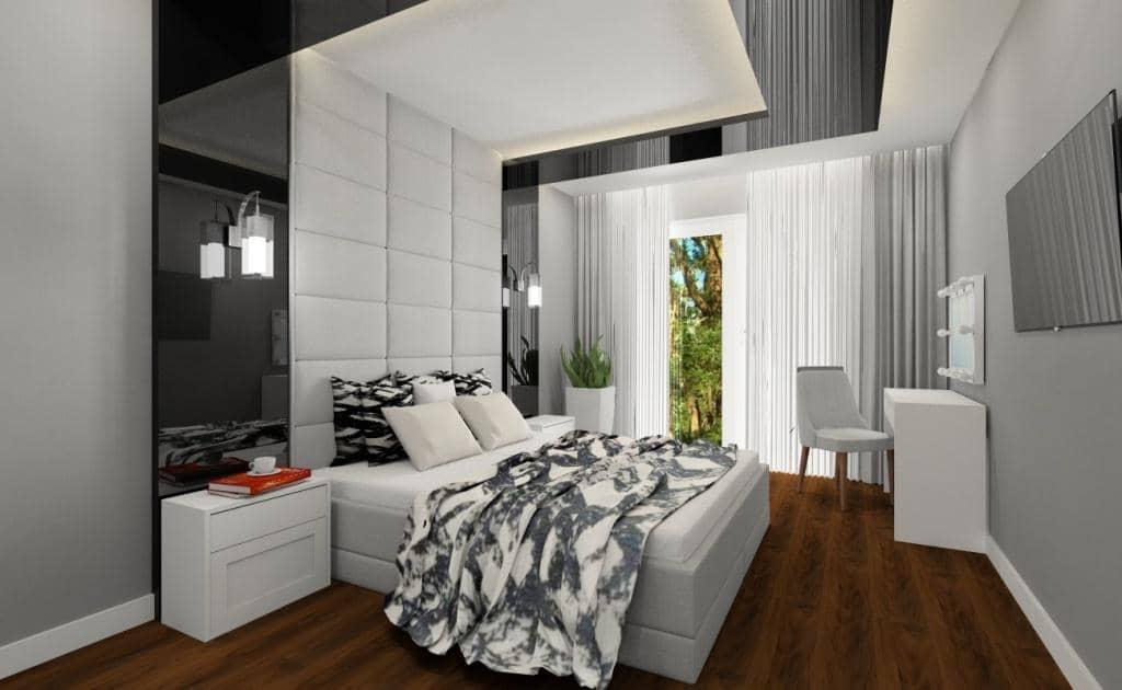 Sypialnia w stylu nowoczesnym: Sypialnia ze szkłem czarnym