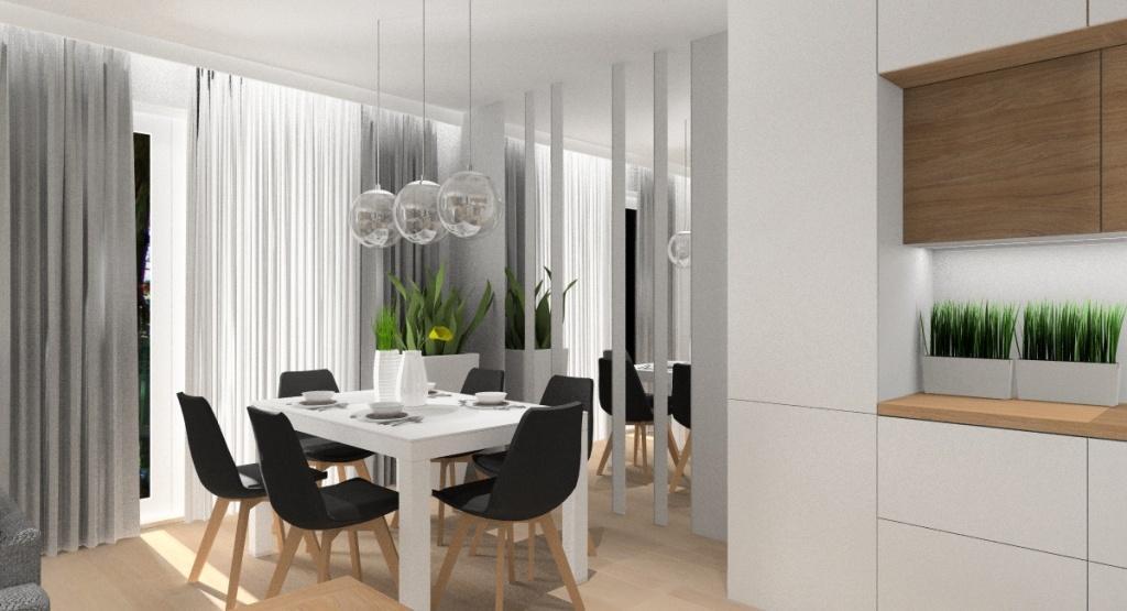 Salon z aneksem kuchennym 30 m2 – biel, szarość i drewno, strefa jadalniana