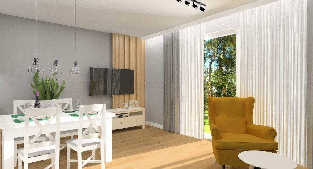 Aranżacja małego salonu z aneksem kuchennym, styl skandynawski, urządzamy 27 m2, Na ścianie za szafką RTV panele drewniane,
