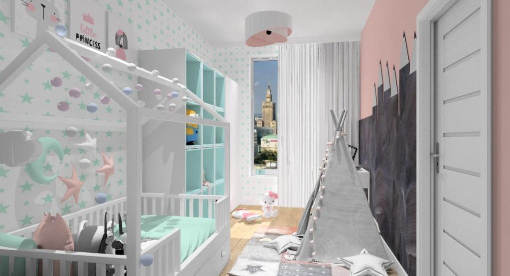 Aranżacja pokoju dla dziewczynki-pokój dziecięcy: biały, szary, miętowy, pudrowy róż.