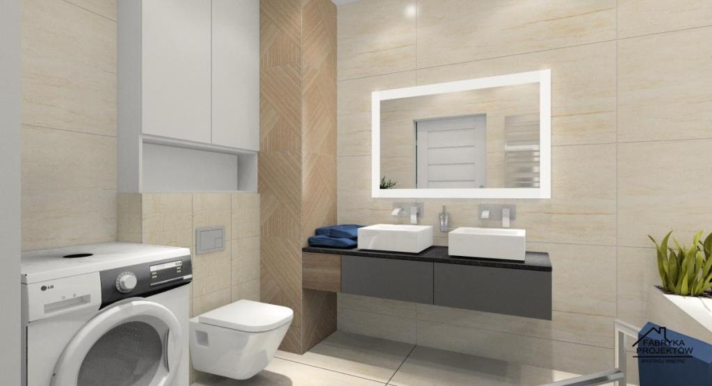 Łazienka, duża szafka z dwoma umywalkami, wc z zabudową oraz miejsce na pralkę. Płytki w łazience w kolorze beżowym i drewnie