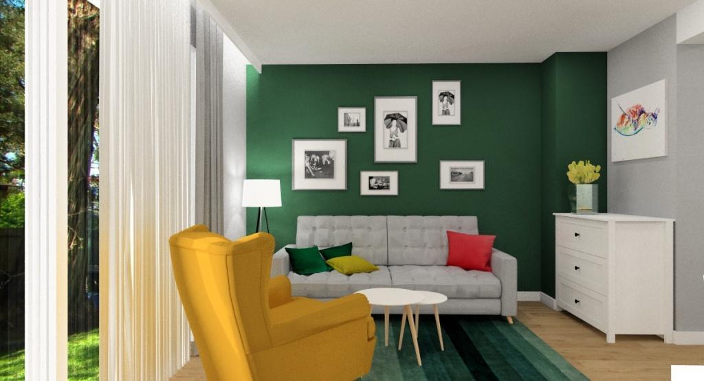 Mały salon w stylu skandynawskim, Na ścianie za sofą zaplanowane jest miejsce na galerie zdjęć mieszkańców