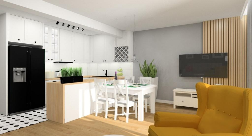 Mały salon z aneksem kuchennym 27 m2, styl skandynawski
