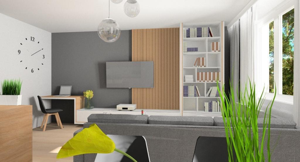 Mały salon, część jadalniana i część salonowa, Wnętrze salonu z aneksem kuchennym spełnia swoją funkcje, jest funkcjonalne, jasne i przytulne