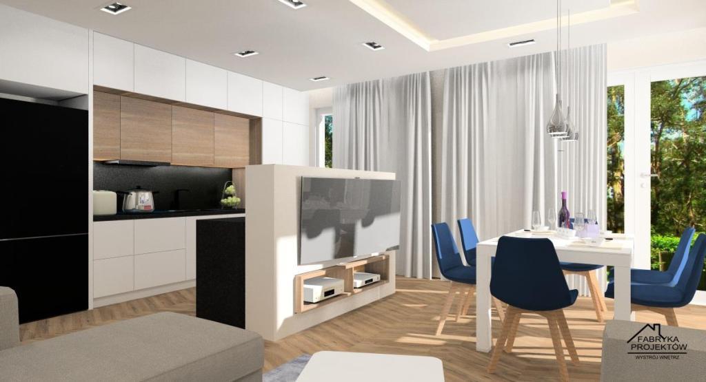 Salon z aneksem, hol i łazienka: projekt wnętrza, styl nowoczesny - Gliwice, ściany w kolorze beżowym, granatowe krzesła