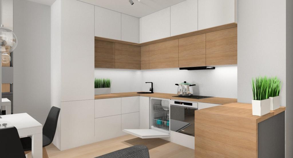 Urządzamy mały salon z aneksem kuchennym, Aneks kuchenny to zabudowa mebli zaprojektowana na wymiar w kształcie litery L z dodatkowym barkiem z blatem roboczym.