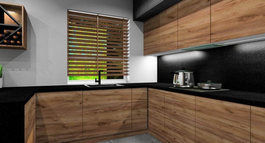 Aranżacja nowoczesnej kuchni , szary, drewno