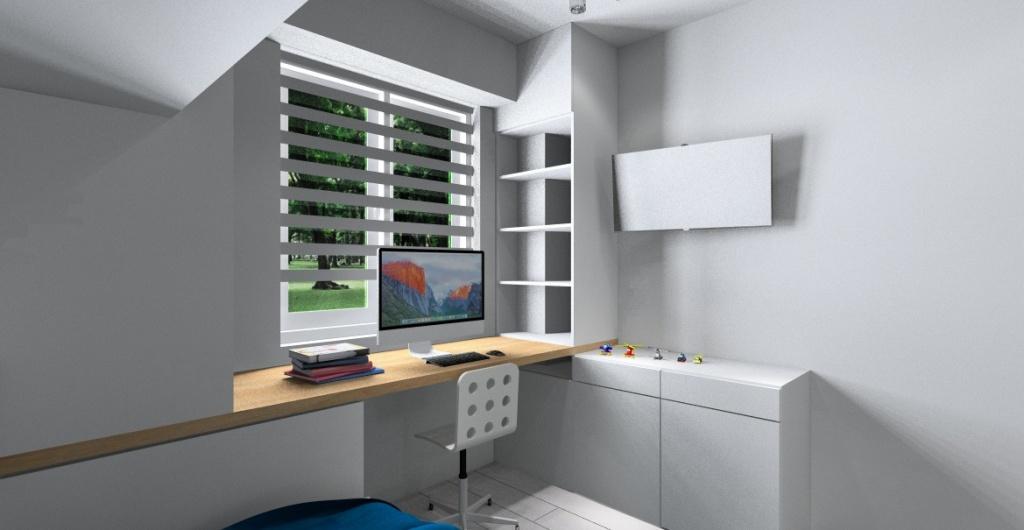 Aranżacja pokoju dla chłopca, projekt wnętrza w kolorze biały, szary, niebieski, żółty, widok na biurko pod oknem i telewizor na ścianie