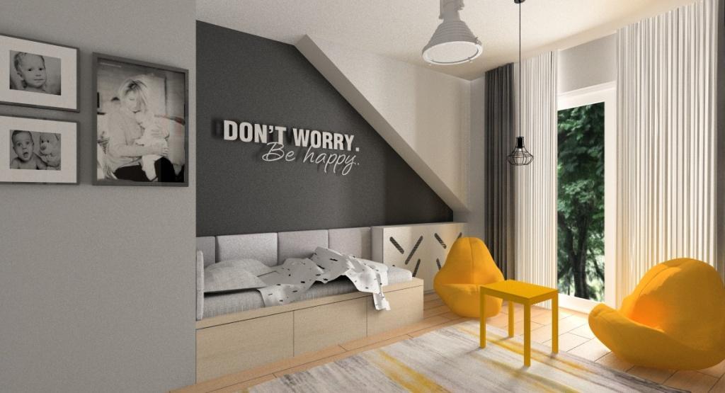 Jak urządzić pokój nastolatka - młodzieżowy? duże biurko, ściana pomalowana farbą tablicową, pokój w kolorach biały, szary, zółty, czarny, napis na ścianie, żólte pufy, żółty stolik, szaro-żółty dywan