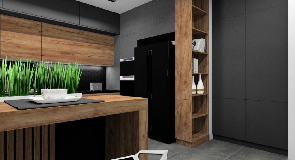 Nowoczesna szara kuchnia z drewnem: aranżacja wnętrza