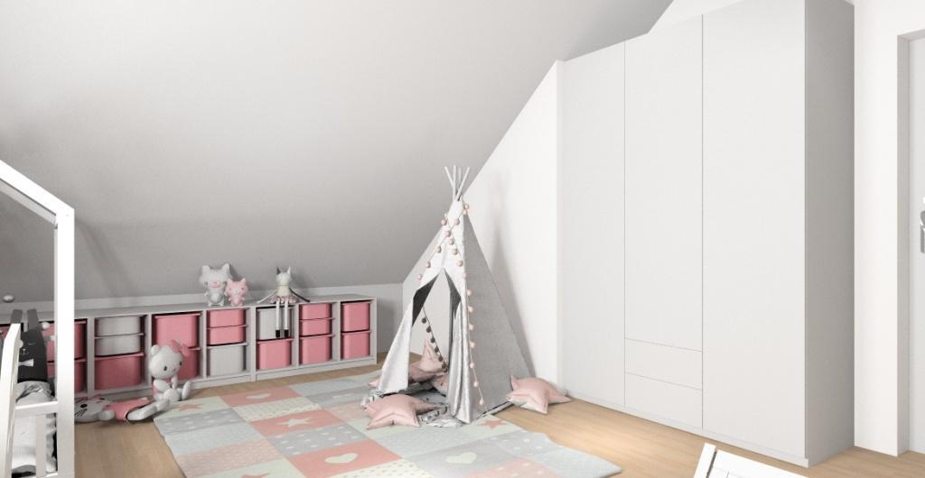 Pokój dla dziecka aranżacja pokoju dla dziewczynki, średnio pokoj na poddaszu, nowocześnie urządzony, widok na namiot i szafę