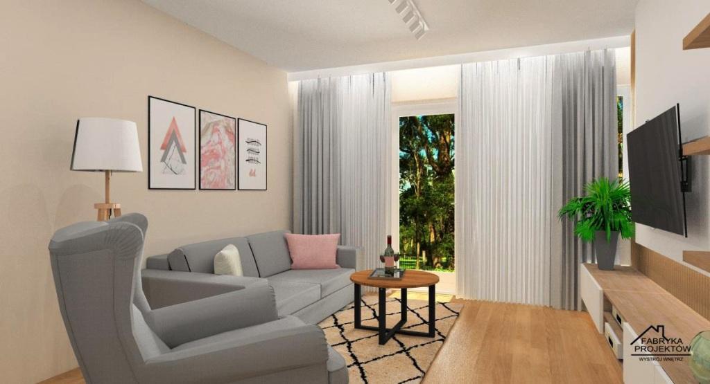 Pokój dzienny w bloku: aranżacja małego salonu w kolorach biały, beż, szary