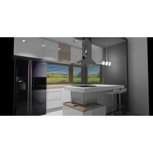 Projekt kuchni nowoczesnej z wyspą, kuchnia biała z drewnem, płyta grzewcza, okap nad wyspą kuchenną, czarna lodówka side by side