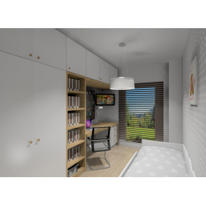 Zabudowa mebli w pokoju dziecka w kolorze białym z drewnem