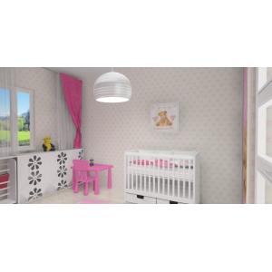 Pokój dla niemowlaka, biały, róż, zabudowa kaloryfera, Ikea Mammut,tapeta dziecięca, łóżeczko z szufladą