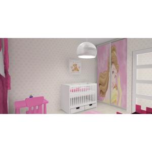 Grafika na szafie w pokoju dziecka, biały, róż