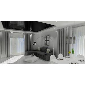 Projekty salonu z kuchnią, biały, szary, czarny, nowoczesne wnętrz