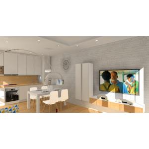 Projekt salonuz kuchnią w kolorach biały, drewno, cegła na ścianie w salonie
