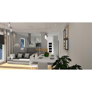 Projekt małego salonu z kuchnią, w kolorze biały, szary