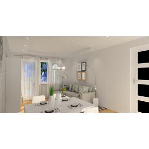 Projekt małego salonu z kuchnią, wnętrze skandynawskie