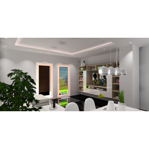 Salon z kuchnią, biały, drewno