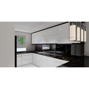 Aranżacja kuchni czarno-białej, białe szafki, kamienne czarne blaty, barek