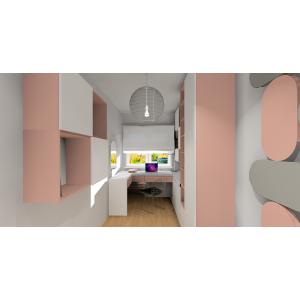 Panele 3d w pokoju dziecka, róż, szary, półki ścienne oświetlenie w pokoju dziecka, biurko , miejsce do przechowywania