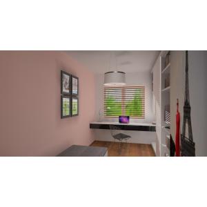 Wizualizacja projektu pokoju dla dziecka - wariant biurka pod oknem