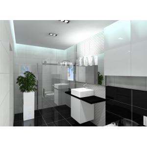 Projekty łazienki nowoczesnej, łazienka w kolorze białym i czarnym