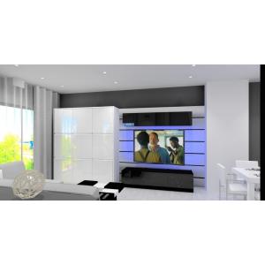 Nowoczesna ściana TV, czarna szafka RTV,biały stół, obniżany sufit