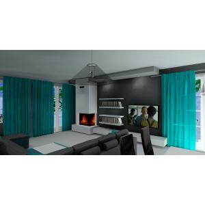 Salon w stylu nowoczesnym, szary,turkus,kominek w salonie,biała szafka RTV