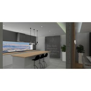 Nowoczesna kuchnia, wyspa kuchenna,ściana z farbą kredową w kuchni,białe meble w kuchni