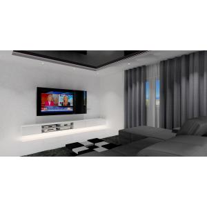 Biało -czarny salon w stylu nowoczesnym, napinany sufit w kolorze czarnym,biała szafka RTV podwieszana, biało czarny stolik kawowy