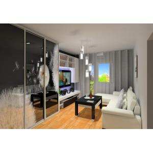 Pokój dzienny, szafa przesuwna, grafika na szafie,biały narożnik, stolik kawowy, nowoczesna szafka RTV