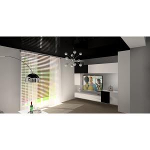 Projekt salonu, sufit napinany,podwieszany czarny , białe meble, nowocesna lampa,oświetlenie sufitowe
