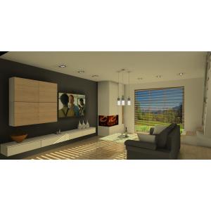 Projekt salonu, biała szafka RTV,meble drewniane, brazowa sofa,kominek ,nowoczesne oświetlenie