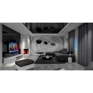 Salon w kolorach białym, czarnym i szarym, nowoczesna fototapeta w salonie,kominek w salonie, lampa stojąca do salonu