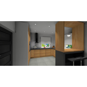 Kuchnia szara z drewnem, płytki szare na podłodze, barek w kuchni szaro-drewniany, hokery szare