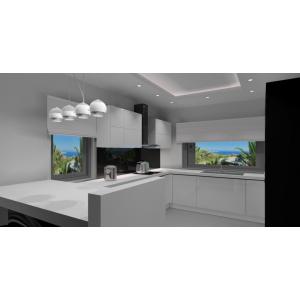 Kuchnia biała, szare ściany, szara podłoga, czarne szkło na ścianie