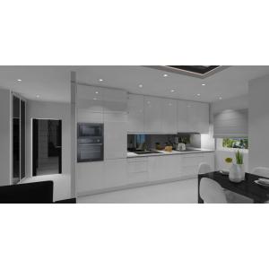 Projekt białej kuchni,stół czarny,białe krzesła
